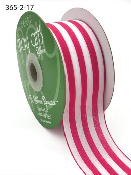 hot pink and white striped woven ribbon