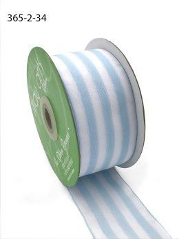 light blue and white striped woven ribbon