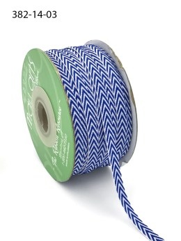 navy blue and white chevron twill ribbon