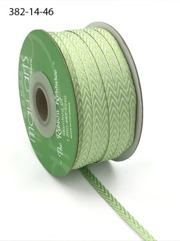 celery green and white chevron twill ribbon