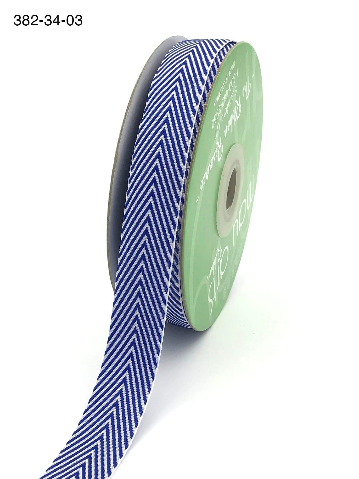 "May Arts 382-14-94 1//4/"" Twill//Chevron Stripes Ribbon Turquoise//White 5 yds"