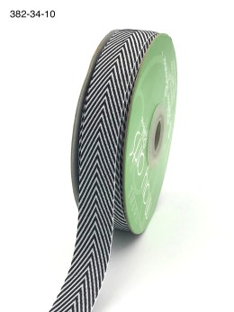 black and white chevron twill ribbon