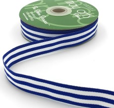 royal blue and white striped grosgrain ribbon