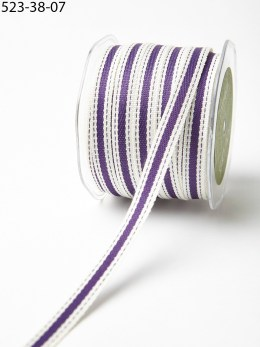 Violet and Ivory Cotton Ribbon