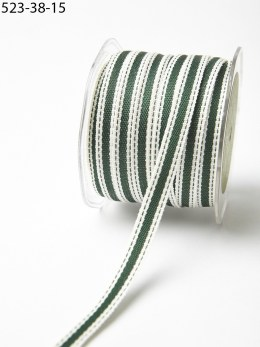 Green and Ivory Cotton Ribbon