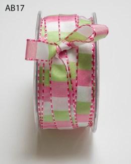 pink white parrot green checkered ribbon