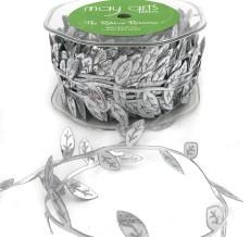 metallic silver leaf ribbon