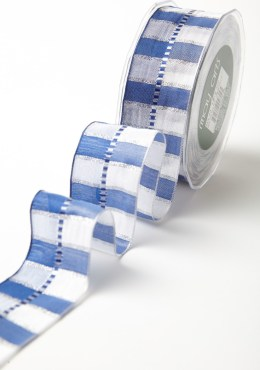 """1.5"""" Hanukah Holiday Blue and White Plaid Wired Ribbon"""