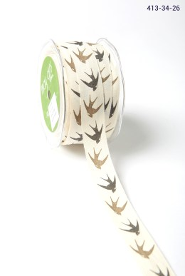 sparrow print cotton ribbon