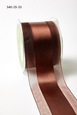 Brown Sheer with Satin Center Ribbon