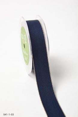 Navy/Natural Solid With Color Edge Ribbon