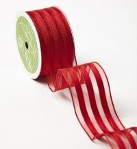 Red Sheer With Solid Stripes (Wired) Ribbon