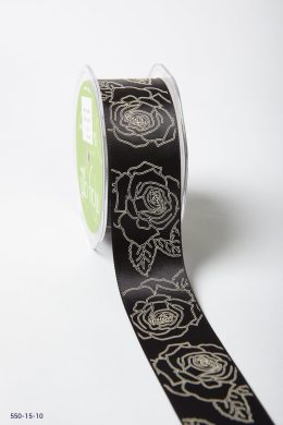 Black/Ivory Double Faced Satin Sketched Rose Print Ribbon