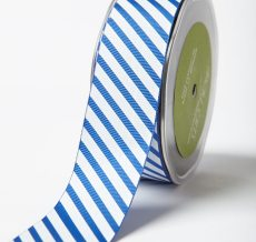 Royal Blue Grosgrain w/ Diagonal Stripes Print Ribbon