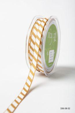 Antique Gold Grosgrain Ribbon w/ Diagonal White Stripes