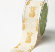 Metallic Gold Cotton w/ Pineapples Print Ribbon