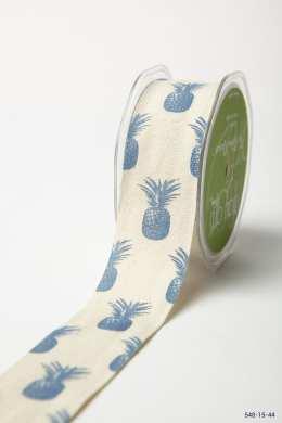 Royal Blue Cotton w/ Pineapples Print Ribbon