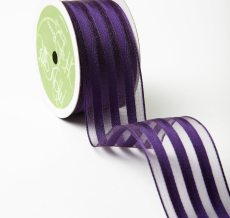 Violet Sheer with Woven Stripes Ribbon