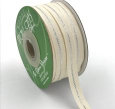 silver metallic line canvas cotton ribbon