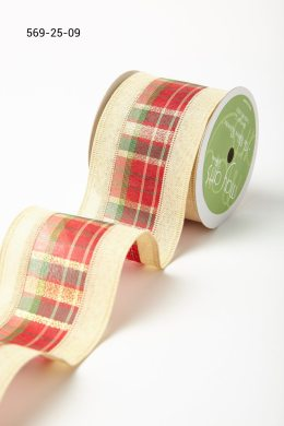 Ivory Plaid w/ Solid Edges Ribbon