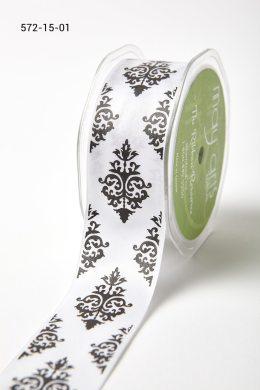 Black/White Single Faced Satin Damask Print Ribbon