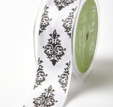 Black/White Single Faced Satin Damask Print Ribbon