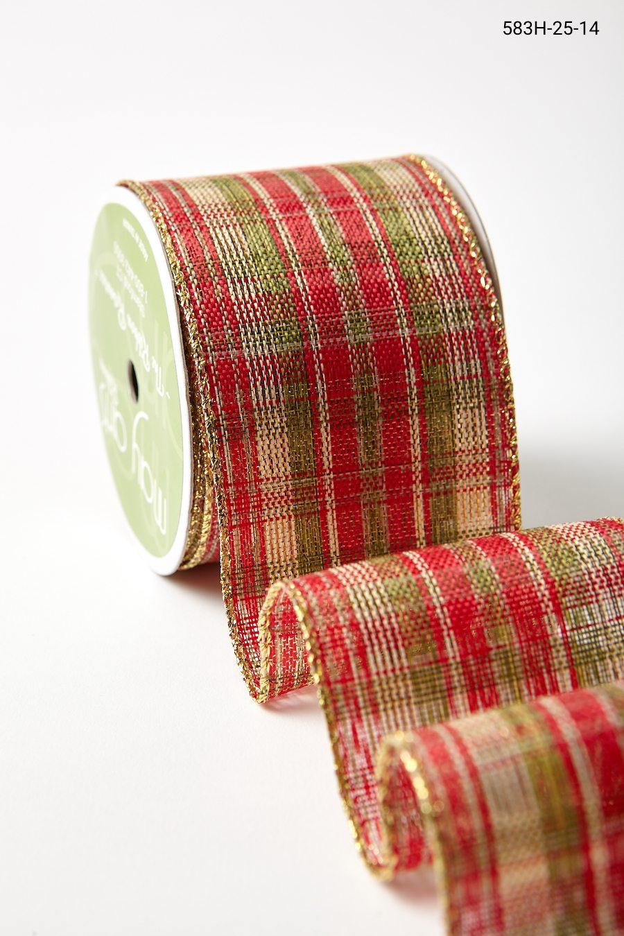 """5 Yd Christmas Red Green Metallic Edge Christmas Plaid Wired Ribbon 2 1//2/""""W"""