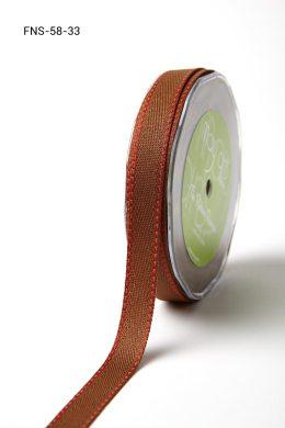 Brown w/ Red Stitch Twill Ribbon w/ Red Stitched Edge Ribbon
