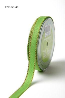 Parrot Green w/ Red Stitch Twill Ribbon w/ Red Stitched Edge Ribbon