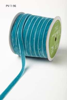 Turquoise Velvet/Woven Ribbon
