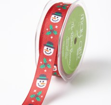 snowman printed grosgrain ribbon