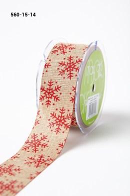 red snowflake print jute ribbon