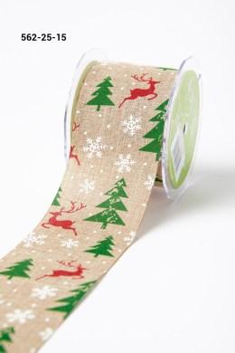 red reindeer green christmas tree white snowflake print jute ribbon
