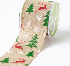 red reindeer green christmas tree white snowflake print jute ribbon