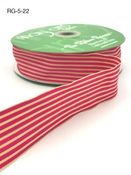 fuchsia and dark ivory tan striped grosgrain ribbon
