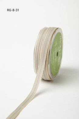 "3/8"" x 50 Grey/Ivory Grosgrain Striped Ribbon"