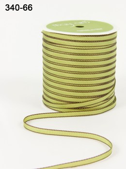 GREEN/BROWN Solid Ribbon Colored Edge Ribbon