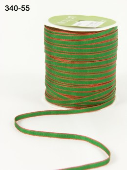 GREEN/RED Solid Ribbon Colored Edge Ribbon