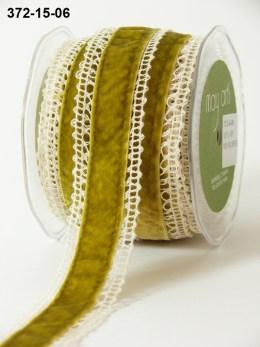 moss green velvet and crochet ribbon shabby chic ribbon