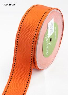 black stitched edges orange grosgrain ribbon Halloween ribbon