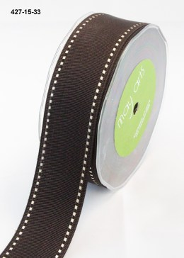 white stitched edges brown grosgrain ribbon