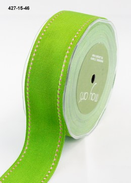 white stitched edges parrot green grosgrain ribbon