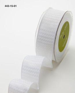 white and white chevron striped woven wired ribbon