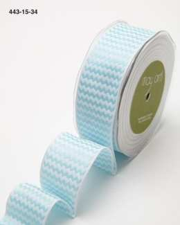 light blue and white chevron striped woven wired ribbon
