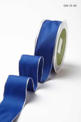 Blue with Silver Edge Solid Ribbon with Metallic Edge