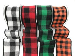 gingham checkered wired ribbons