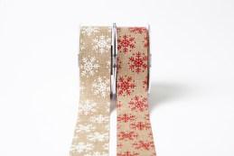 "1.5"" snowflake print Christmas jute ribbons"