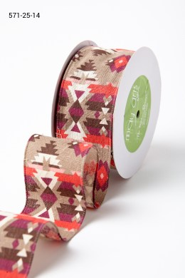 Red Southwestern Graphic Pattern Ribbon