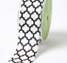 black and white quatrefoil lattice print linen ribbon