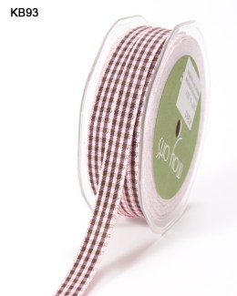 pink and brown checkered gingham ribbon